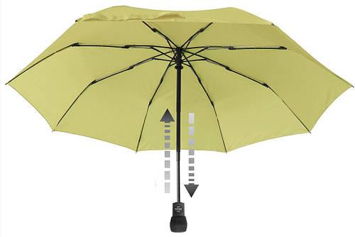 Женский удобный складной зонт-автомат EuroSCHIRM Light Trek Automatic 3032-LG/SU17956 салатовый, Антиветер