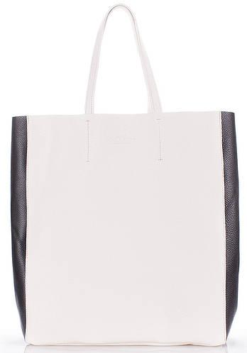 Женская сумка из натуральной кожи PoolParty city2-white-black белая