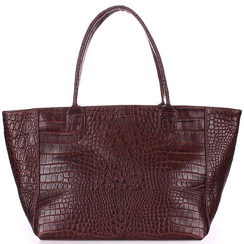 Оригинальная женская сумка из натуральной кожи PoolParty Desire desire-caiman-brown коричневая