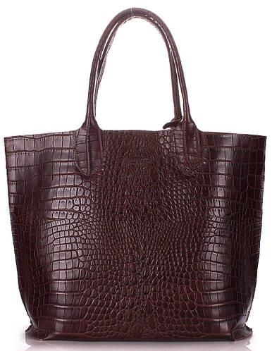 Практичная женская сумка из натуральной кожи POOLPARTY Amphibia amphibia-brown коричневая