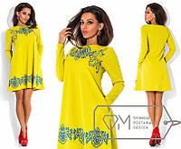 Платье молодежное трапеция трикотаж соты + фактурный накат размеры 42 44 46