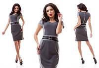 Серое платье в деловом стиле с коротким рукавом и двойным пояском. Арт-3178/20.