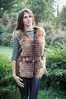 Меховая модная женская жилетка