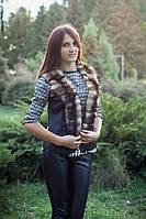 Женская жилетка из натурального меха хорька