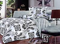 Семейное постельное белье 150х215х2 Goldentex сатин, белый с серым рисунком.