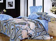 Семейное постельное белье 150х215х2 Goldentex сатин, голубоц с серым рисунком.