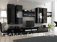 Мебельная стенка DREAM II черный / черный глянец
