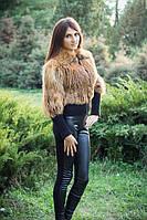 Женский полушубок из натурального меха лисы