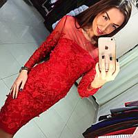 Эксклюзивная коллекция Красное гипюровое платье