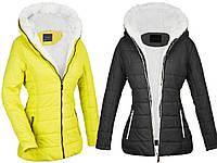 Куртка женская зимняя желтая и черная