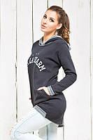 Женская теплая кофта худи с удлиненной спинкой
