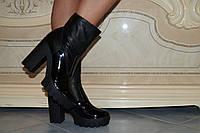 Женские стильные кожаные ботильоны с лаковыми вставками . АРТ-0138