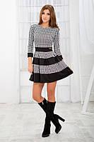 Короткое черно-белое платье гусиная лапка с пышным низом