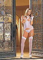 Белое сексуальное бюстье с открытой грудью