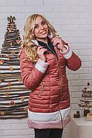 Пальто женское зимнее на синтепоне пудра, фото 1