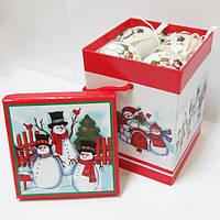"""Шары новогодние в подарочной коробке """"Снеговики"""" 8 шт. 60 мм, музыкальная упаковка."""