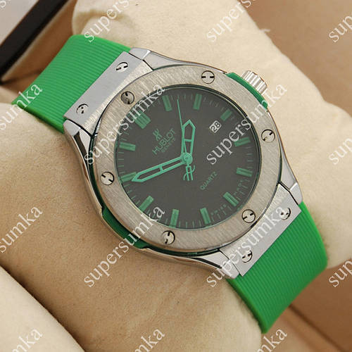 Модные наручные часы Hublot Big Bang AA quartz Green/Silver/Black 1250