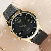 Стильные наручные часы Longines Slim Quartz Gold/Black 1301