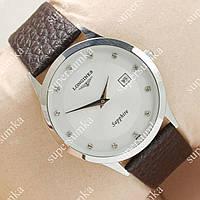 Модные наручные часы Longines Slim Quartz Silver/White 1302