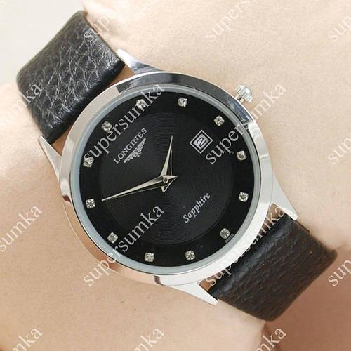 Практичные наручные часы Longines Slim Quartz Silver/Black 1303