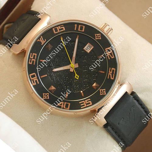 Модные наручные часы Louis VuittonMechanic Gold/Black 1404