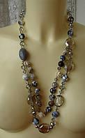 Ожерелье женское колье бусы натуральный камень агат хрусталь 4467