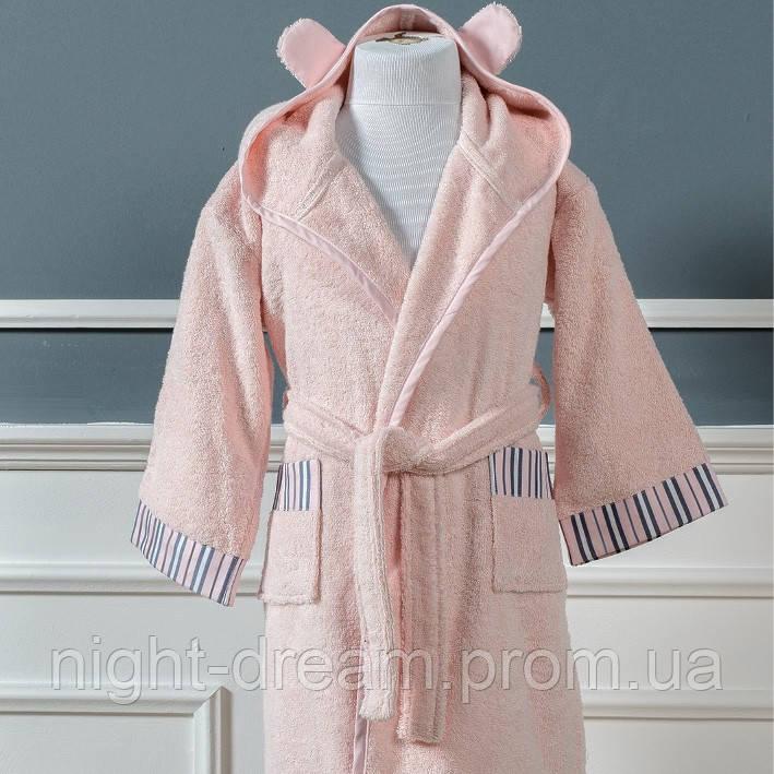 Нежно-розовый махровый халат для девочек SOPHIE от CASUAL AVENUE на 5-6 лет