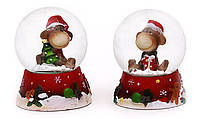 "Снежный новогодний шар ""Обезьянка в колпаке"" (полирезина), 5 см, 5x5x6см"