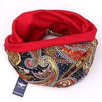 Двусторонний шарф-капюшон красные огурцы