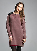 Теплое платье -туника прямого кроя с кожаными вставками