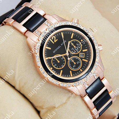 Стильные наручные часы Michael Kors crystal Pink gold-black/Black 1679