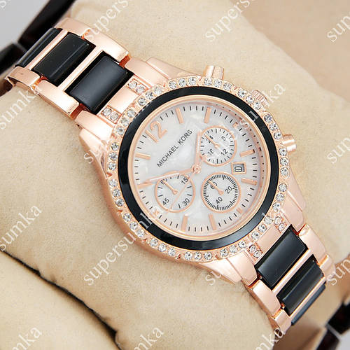 Модные наручные часы Michael Kors crystal Pink gold-black/White 1680
