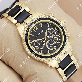 Стильные наручные часы Michael Kors crystal Gold-black/Black 1688