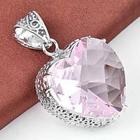 """Кулон женский """"Винтажное сердце"""" с розовым топазом"""