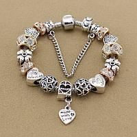 Женский браслет Pandora (Пандора) золотистый с сердечком