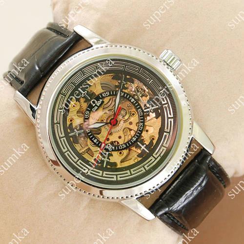 Элегантные наручные часы Omega Silver/Black 1836