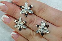 Ювелирные украшения из серебра с пластинами золота - серьги и кольцо