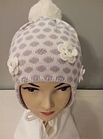 """Комплект вязаный """" Горох """" шапка шарф девочка."""
