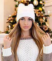 Женская шапка с ушками демисезонная в 10ти цветах 4234