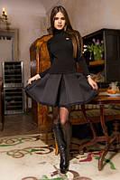 Женское необычное черное платье (имитация гольфа с юбкой)
