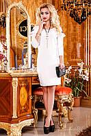 Нежное трикотажное платье средней длины с оригинальными рукавами-фонариками, 44-50 размер