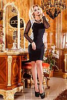 Вечернее сексуальное платье с рукавами сетка и вставками кружева из эко-кожи, 42-48 размер