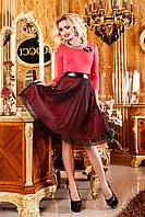 Кокетливое платье для любых праздничных событий, с пышной юбкой с сеткой и кожей на поясе 42-48 размер