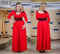 Женское красное вечернее платье в пол