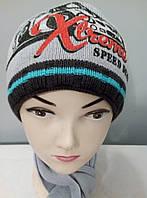 """Комплект вязаный """" Экстрим """" шапка шарф мальчик."""