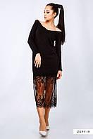 Женское черное платье из ангоры с вуалью Размеры S, M AK1207