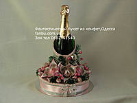 Новогодняя упаковка для шампанского с серебряными лилиями
