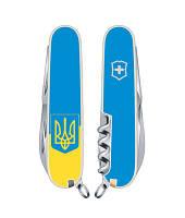 Складной нож Victorinox CLIMBER UKRAINE желто-голубой с гербом Vx13703.7R3