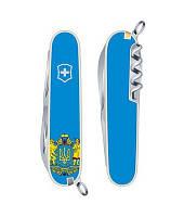 Складной нож Victorinox HUNTSMAN UKRAINE желто-голубой с гербом Vx13713.7R6
