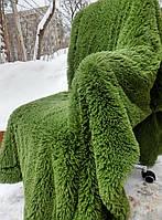 Ворсистое покрывало из длинного ворса зеленное